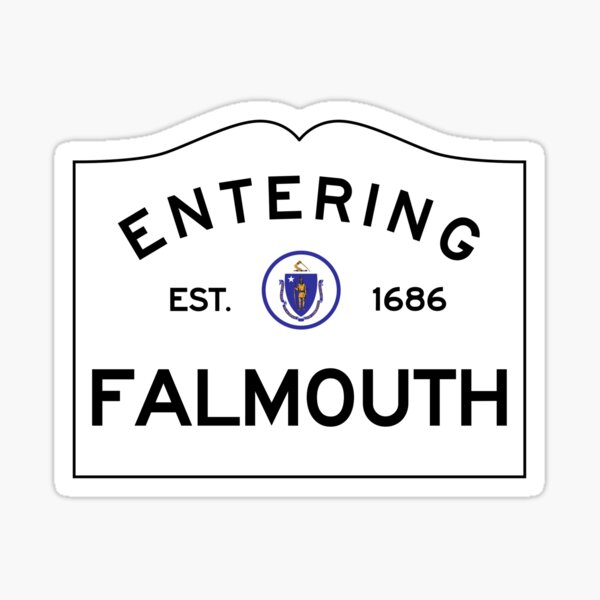 Entering Falmouth - Commonwealth of Massachusetts Road Sign Sticker