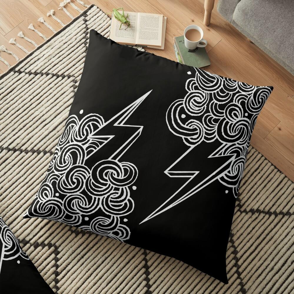 Ride The Lightning - White on Black Floor Pillow