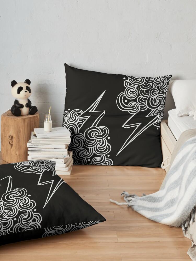 Alternate view of Ride The Lightning - White on Black Floor Pillow