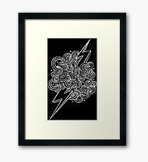 Ride The Lightning - White on Black Framed Print