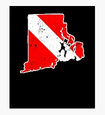 Rhode Island Scuba Dive Flag Diver Down Flag Shirt Photographic Print