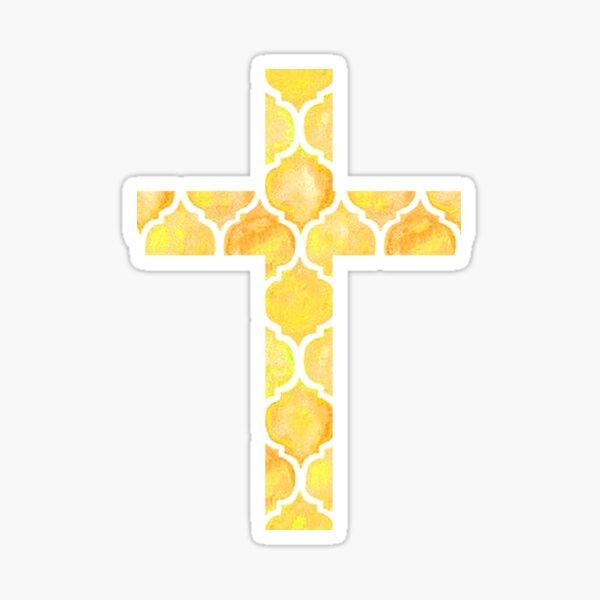 Yellow Easter Cross Design Sticker