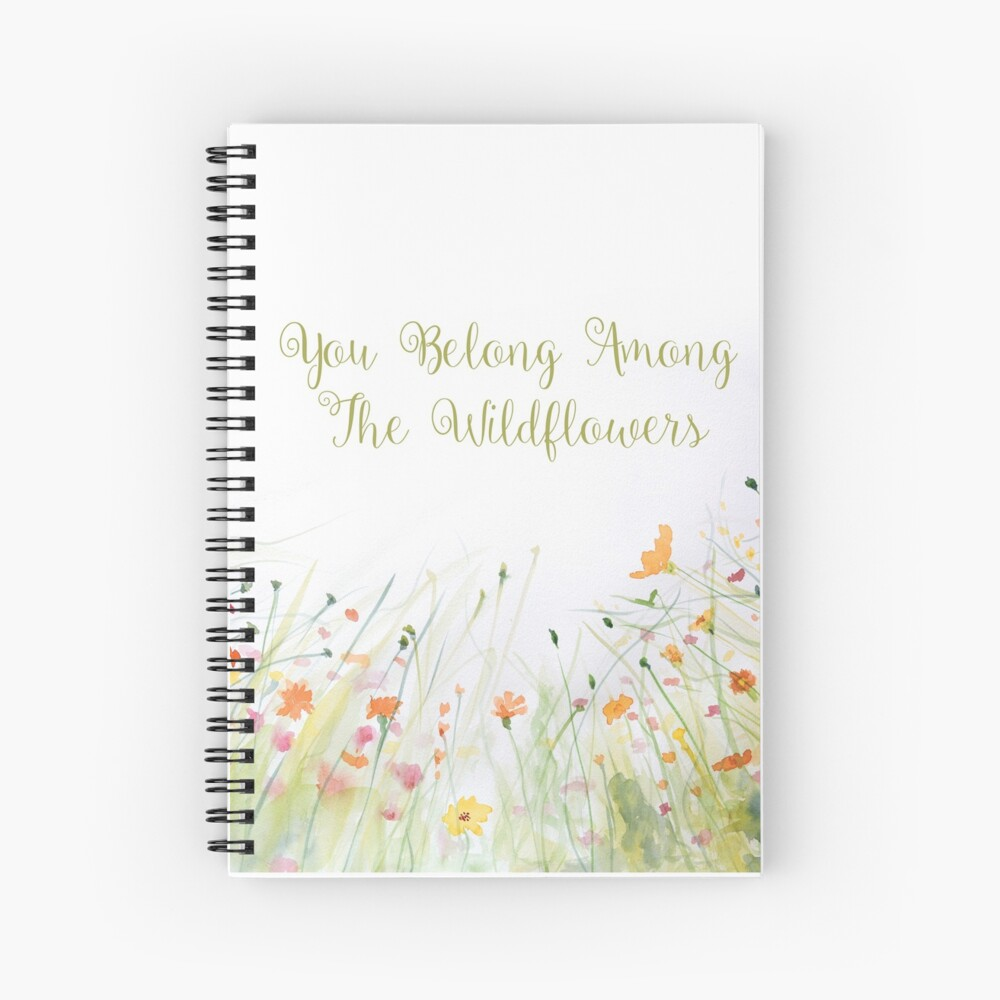 Watercolor Flower Painting with Mint Green Leaves Spiral Notebook