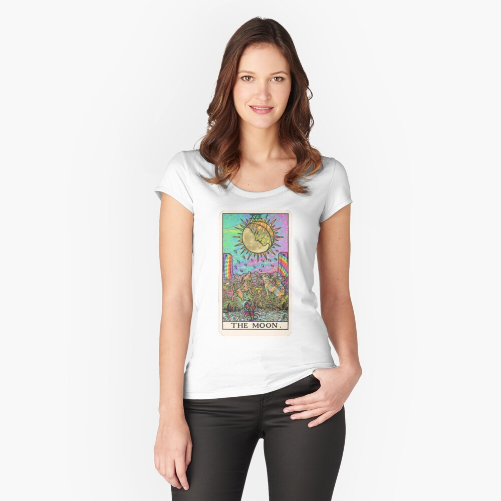 Psychadelic Tarot- The moon Fitted Scoop T-Shirt