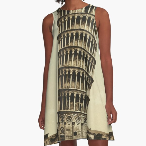 Vintage Leaning Tower of Pisa Photograph (1900) A-Line Dress
