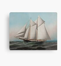 Vintage Schooner Sailboat Illustration (1887) Metal Print