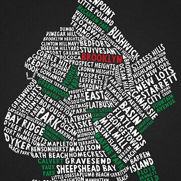Brooklyn New York Typography Map, NYC, Calligram by icoNYC