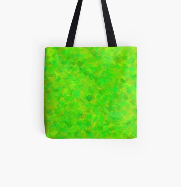 Neon Lime Blocks by Cecile Grace Charles All Over Print Tote Bag