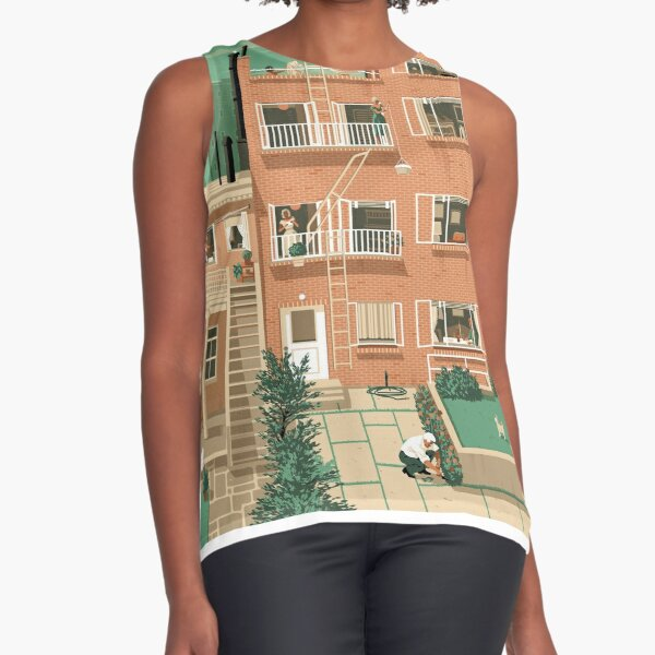 Travel Posters - Hitchcock's Rear Window - Greenwitch Village New York Sleeveless Top