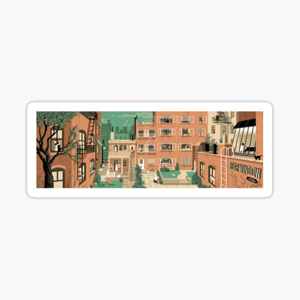 Travel Posters - Hitchcock's Rear Window - Greenwitch Village New York Sticker
