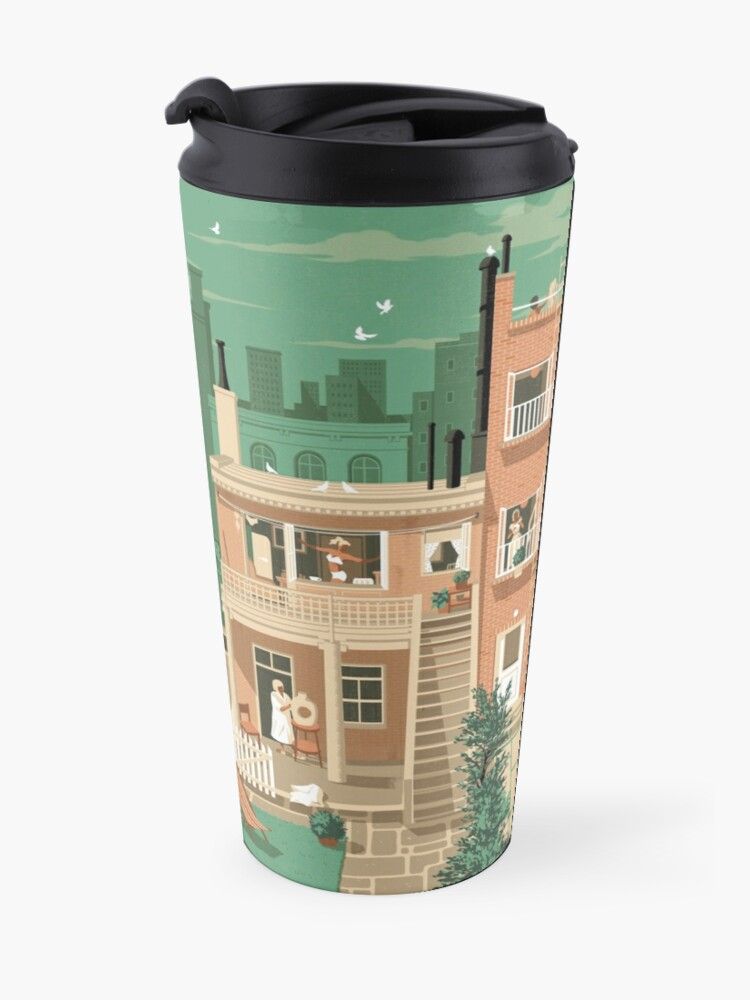 Alternate view of Travel Posters - Hitchcock's Rear Window - Greenwitch Village New York Travel Mug