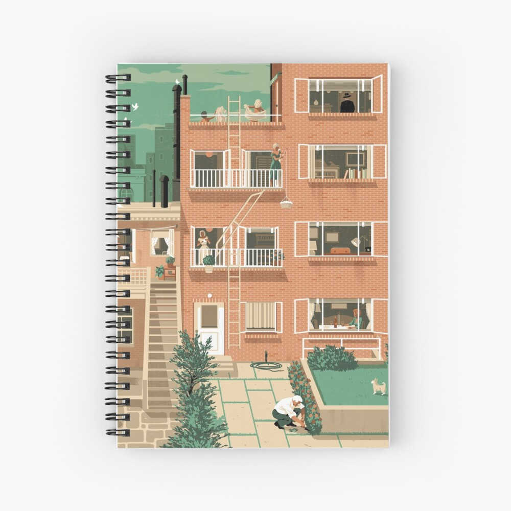 Carteles de viaje - Ventana trasera de Hitchcock - Greenwitch Village New York Cuaderno de espiral