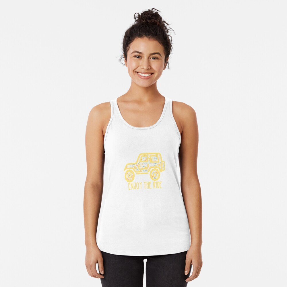 Floral Jeep (yellow) Racerback Tank Top