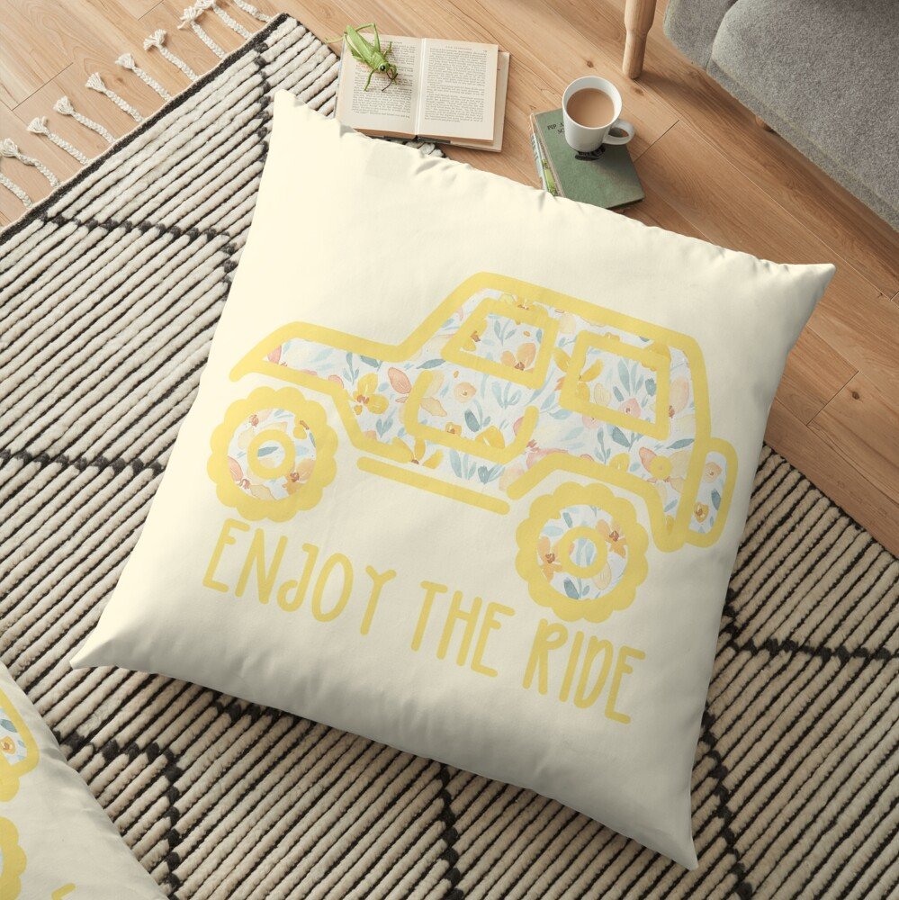 Floral Jeep (yellow) Floor Pillow