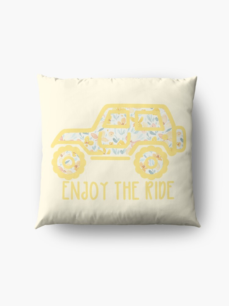 Alternate view of Floral Jeep (yellow) Floor Pillow