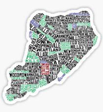 Staten Island New York Typographic Map Sticker