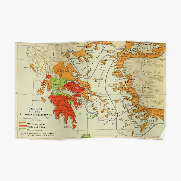 Vintage Map of Ancient Greece (1904) Poster