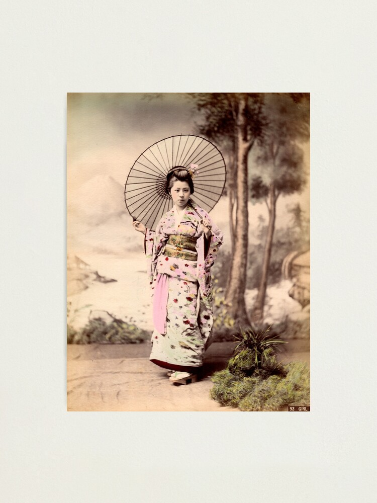 Alternate view of Japanese girl wearing kimono with parasol Photographic Print