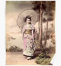 Japanese girl wearing kimono with parasol Poster