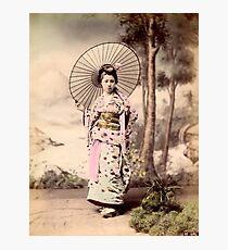 Japanese girl wearing kimono with parasol Photographic Print