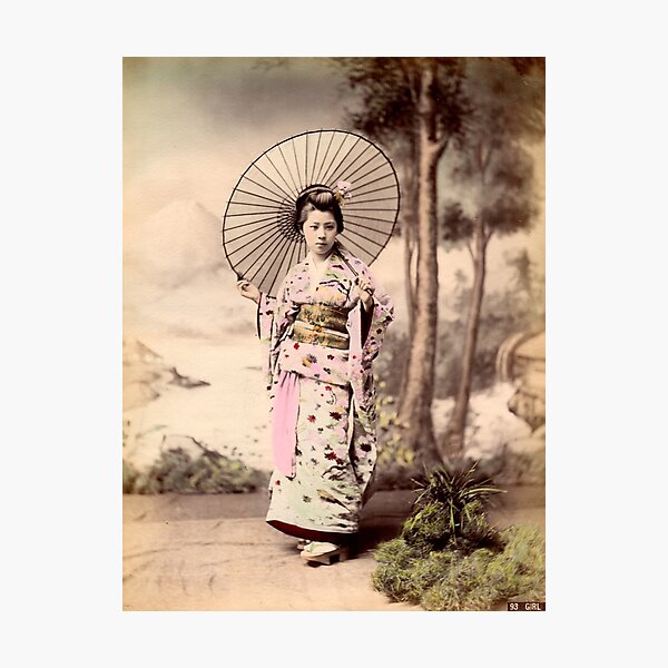 Japanese girl wearing kimono with parasol Photographic Print