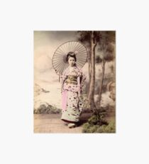 Japanese girl wearing kimono with parasol Art Board