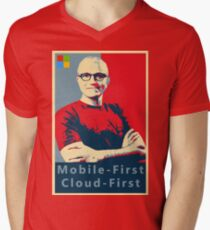 Camiseta de cuello en V Cartel de la primera calle de Satya Mobile First Cloud