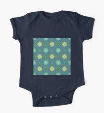 Abstract green flowers pattern One Piece - Short Sleeve