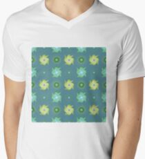 Abstract green flowers pattern Men's V-Neck T-Shirt