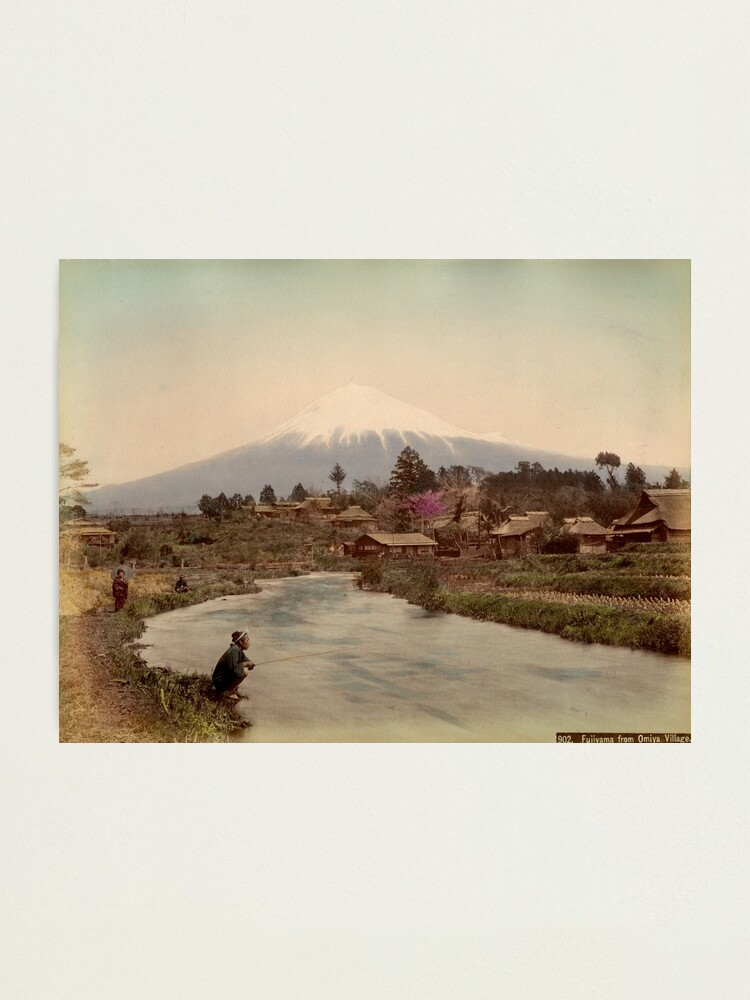 Alternate view of Mt. Fuji from Omiya Village 1880s Photographic Print