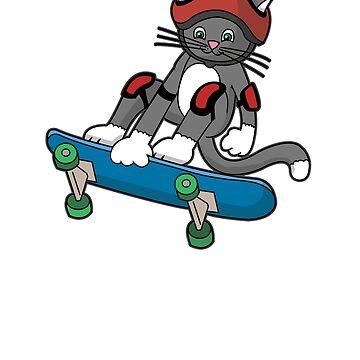 Skateboard Cat Tshirt by robertaccomando