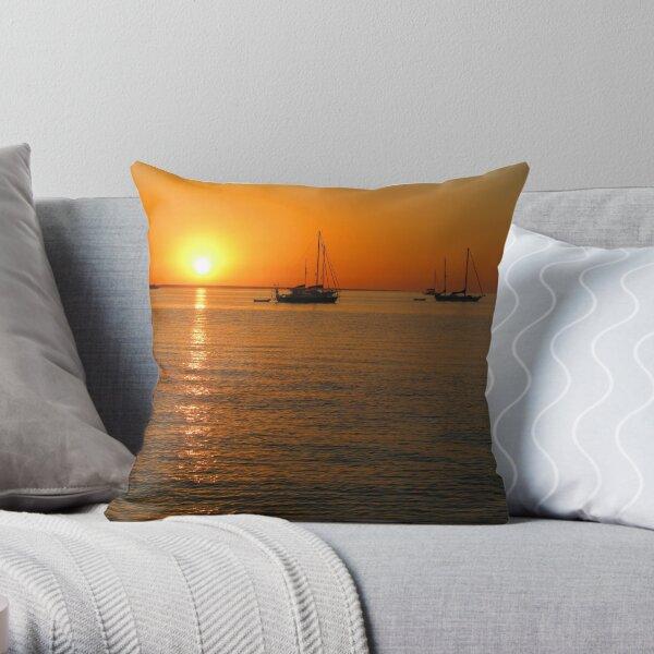 Sailboats at Sunset II Throw Pillow