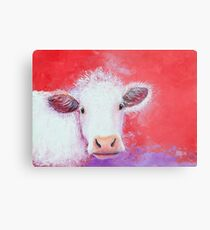 White Cow painting on red background Metal Print