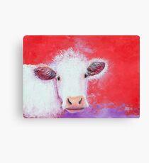Peinture de vache blanche sur fond rouge Impression sur toile