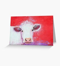 White Cow painting on red background Greeting Card