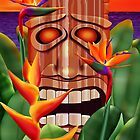 Tropical Tiki Statue With Birds Of Paradise Blooms by Jamie Rice
