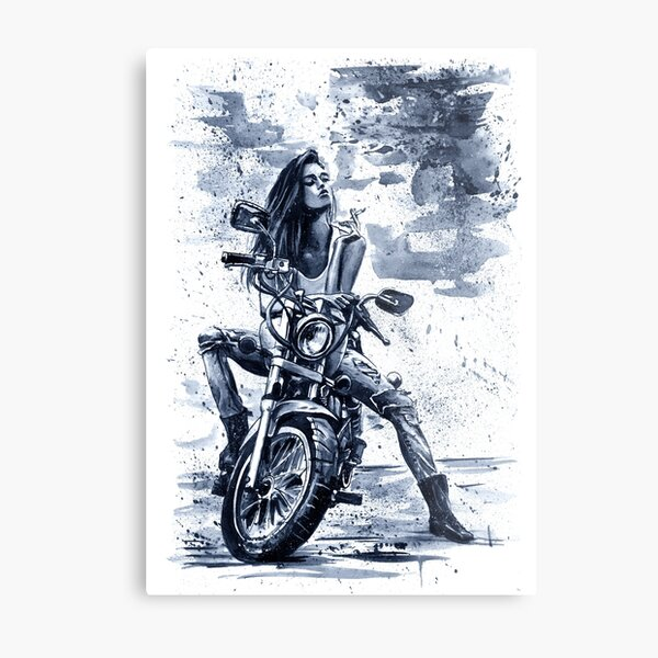 Biker Girl painting fashion cool Metal Print