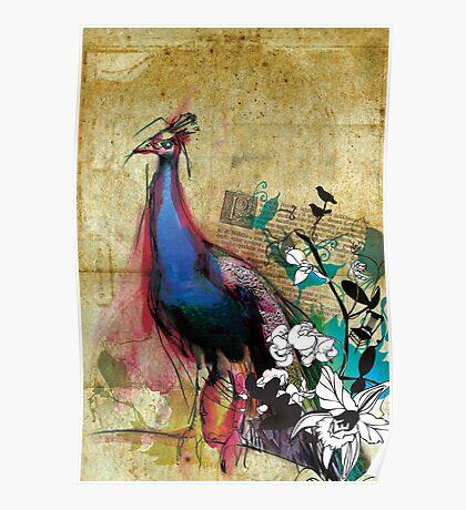 Large King Peacock Canvas Poster