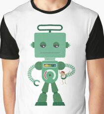 Giant green robot with a toy human Graphic T-Shirt