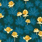 Forest Berries - Pattern // Dark Turquoise by Elli Maanpää
