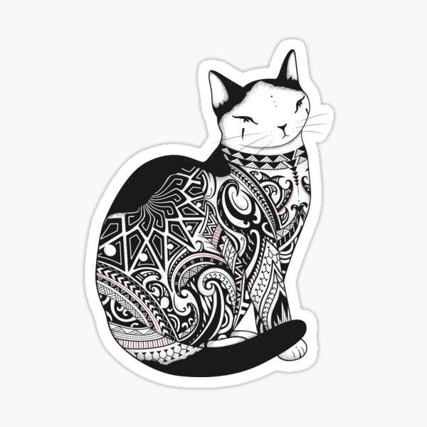 Cat in Tribal Tattoo Sticker