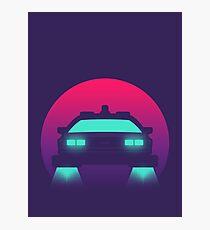 DeLorean DMC-12 Back To The Future Car - Time Machine Sunset Photographic Print