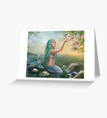 Mermaid in the Sunset with Green Hair & Lilies Greeting Card
