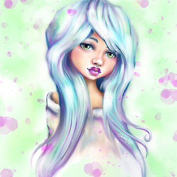 Cute in Blue - Kawaii Pastel Goth Girl by sarahmwall