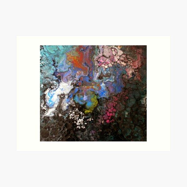 Zellenmuster: Dark Patterns - Blau - Orange - Rot Kunstdruck