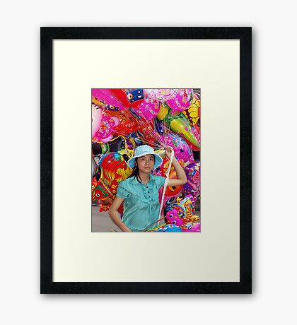 Balloon Seller - Hanoi, North Vietnam Framed Print