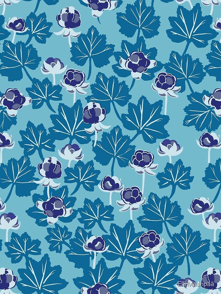 Forest Berries - Pattern // Blue Mist  by ElliMaanpaa