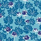 Forest Berries - Pattern // Blue Mist  by Elli Maanpää