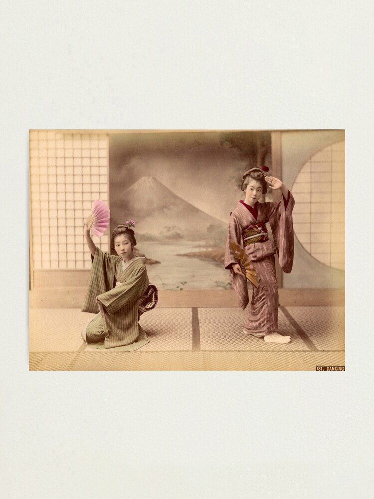 Alternate view of Two geisha girls dancing Photographic Print