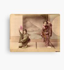 Two geisha girls dancing Canvas Print